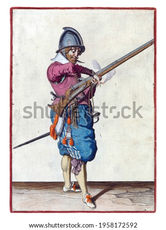 A soldier, full-length, to the right, holding a rudder (a type of firearm) with his left hand. He transfers the burning fuse in his right hand to his left Royalty-Free Stock Photo #1958172592