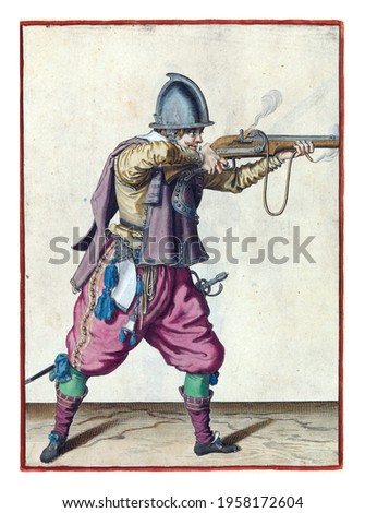 A soldier, full-length, to the right, holding a rudder (a type of firearm) horizontal with both hands, aiming and firing Royalty-Free Stock Photo #1958172604