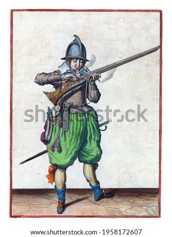 A soldier, full-length, to the right, holding a rudder (a type of firearm) with his left hand. He brings the rudder to his mouth to blow the fuse, with two fingers he covers the pan against sparks Royalty-Free Stock Photo #1958172607