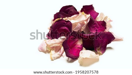 Beautiful pile of red rose petals on white background with place for inscription. Gentle romantic background for presentation, business card,  notepad. Spa bath decor or base for aromatization.