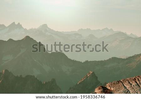 Beautiful mountain peak in  North Cascade Range, Washington,  USA Royalty-Free Stock Photo #1958336746