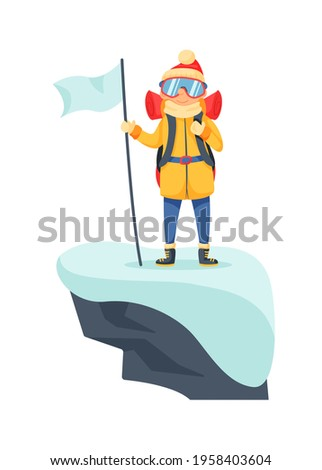 Mountaineer on icy rocky peak cartoon scene