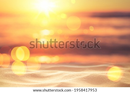Copy space of soft sand sea and blur tropical beach with sunset sky and cloud abstract background. Summer vacation adventure and holiday travel freedom concept. Vintage tone filter effect color style. Royalty-Free Stock Photo #1958417953