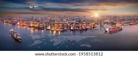 Aerial view and top view cargo plane flying above ship port in the export and import business and Smart logistics international goods. Shipping cargo to harbor by crane Royalty-Free Stock Photo #1958513812