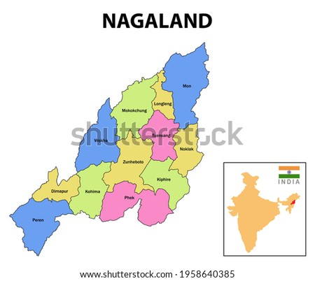 Nagaland map. District map of Nagaland. Nagaland map with district and capital. Colour full district map of Nagaland. Royalty-Free Stock Photo #1958640385