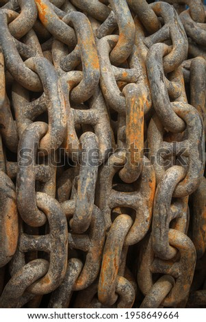 The big ship anchor chains close-up picture