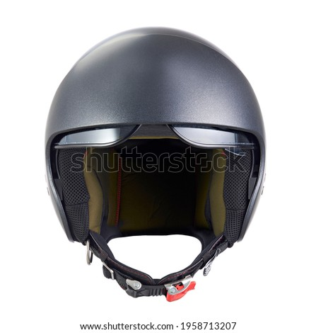 motorcycle helmet with raised visor, front view, isolated on white background Royalty-Free Stock Photo #1958713207