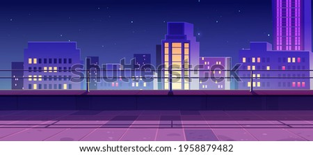 Terrace on rooftop with city view at night. Empty patio on roof or balcony with railing on background of cityscape with modern buildings and skyscrapers. Vector cartoon house terrace in town Royalty-Free Stock Photo #1958879482