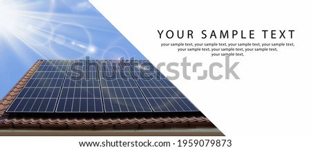 Solar panel, photovoltaic, alternative electricity source - copy space for text. BIG BANNER