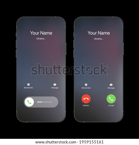 iPhone Call Screen Concept UI Set with Realistic Blurry Background. Incoming Call Screen Template