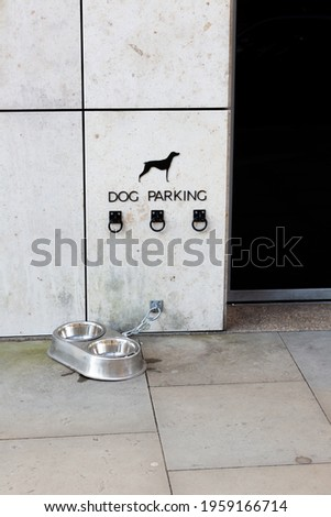 Dog parking place on the side of a building wall