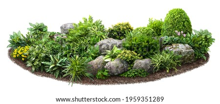 Cut out flowerbed. Plants and flowers isolated on white background. Flower bed for garden design or landscaping. High quality image for professional composition.  Royalty-Free Stock Photo #1959351289