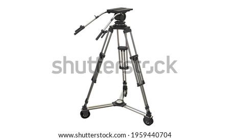 Camera tripod on white background.3d rendering.