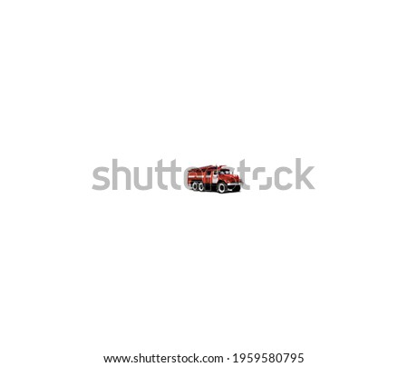 Close up shot of fire truck isolated on white background.