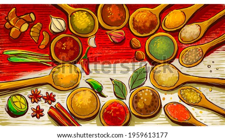 illustration of a collection of typical Indonesian spices