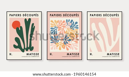 Matisse Abstract Art Set, Aesthetic Modern Art, Boho Decor, Minimalist Art, Illustattion, Vector, Poster, Postcard. Collection for decoration. Vector all isolated. Royalty-Free Stock Photo #1960146154