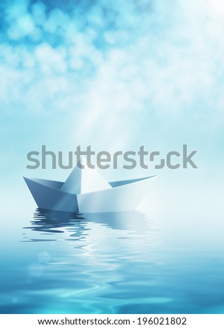 Paper origami boat on azure water #196021802
