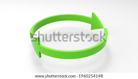 Green Eco Recycle Arrows, Recycled Icon and Rotation Cycle Symbol with Arrows Royalty-Free Stock Photo #1960254148