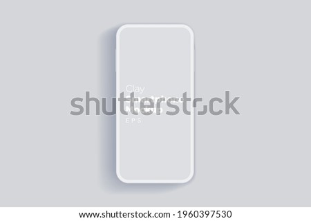 Modern clay mock up smartphone for presentation, information graphics, app display, top view eps vector format.
