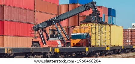 Banner photo of forklift handling the container box from Freight train to truck in logistics area