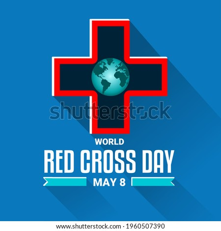 vector illustration of a logo or red cross symbol, as a banner, poster or template for world red cross day.