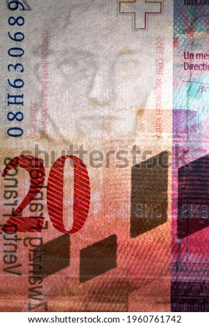 Vertical macro detail of security features and watermark in the reverse side of a twenty 20 Swiss Franc CHF banknote featuring a watermark portrait of composer Arthur Honegger