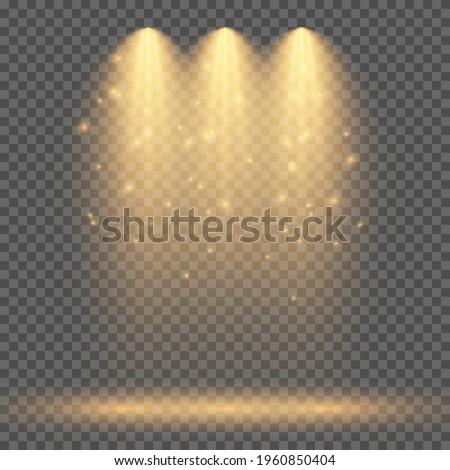 Cold yellow lighting with three spotlights. Scene illumination effects on a dark transparent background. Vector illustration Royalty-Free Stock Photo #1960850404