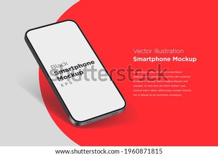 Modern mock up smartphone for presentation, information graphics, app display, perspective view, eps vector format.
