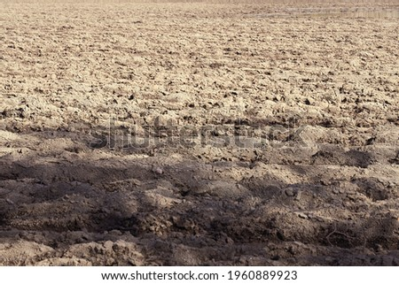 Plowed after winter field as a background.