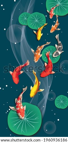 3d illustration of a flock of fish swimming