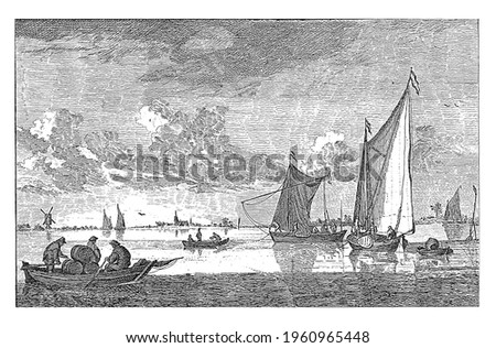 River view with on the left a barge containing three barrels and three people. On the water also several sailing ships and sloops.