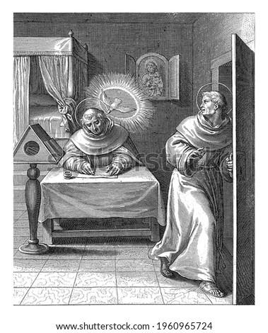 Bonaventura leaves the room in which Thomas Aquinas is writing at his table. He is accompanied by the Holy Spirit as a dove.