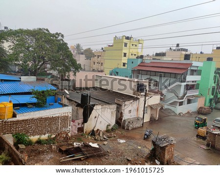 Stock photo of a Bangalore city raining heavily in the afternoon, cold and fresh climate.