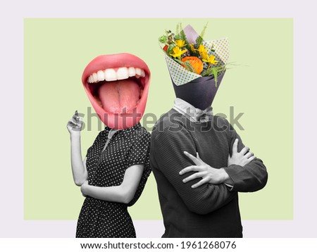 Couple headed with bouquet of spring flowers and big female mouth on pastel background. Copy space for ad, text. Modern design. Conceptual, contemporary bright artcollage. Summertime, surrealism. Royalty-Free Stock Photo #1961268076