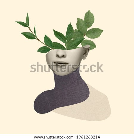 Beautiful female face with green leaves of plant on pastel yellow background. Copy space for ad, text. Modern design. Conceptual, contemporary bright artcollage. Retro styled, surrealism, fashionable. Royalty-Free Stock Photo #1961268214