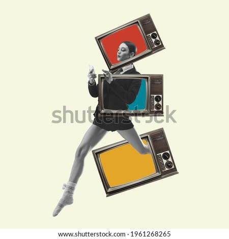 Beautiful woman in casual running throught TV boxes on yellow background. Copy space for ad, text. Modern design. Conceptual, contemporary bright artcollage. Retro styled, surrealism, fashionable. Royalty-Free Stock Photo #1961268265