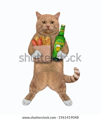 A reddish cat holds a bottle of beer and sausages. White background. Isolated.