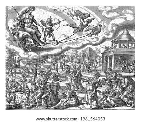 Venus and Amor ride in a chariot in the sky drawn by two birds. The signs of Libra and Taurus indicate which people belong to the sphere of influence of Venus.