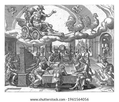 Mercury rides in his chariot in the sky, pulled by two roosters. The signs of Virgo and Gemini indicate which people belong to Mercury's sphere of influence.