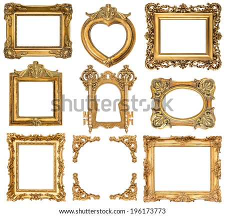 set of golden frames isolated on white background. baroque style antique objects. vintage background