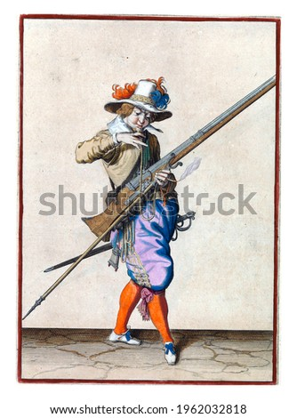A soldier, full-length, to the right, holding a musket (a type of firearm) with his left hand. With his right hand, he brings a burning wick to his mouth to blow it clean Royalty-Free Stock Photo #1962032818