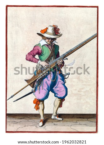 A soldier, full-length, to the right, holding a musket (a type of firearm) with his left hand. With his right hand he presses a burning fuse on the cock Royalty-Free Stock Photo #1962032821