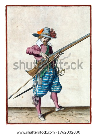 A soldier, full-length, to the right, holding a musket (a type of firearm) and a furket (musket fork) with his left hand Royalty-Free Stock Photo #1962032830