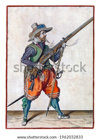 A soldier, full-length, to the right, holding a musket (a particular type of firearm) with the right hand angled upwards, while placing a furket (musket fork) under the barrel. Royalty-Free Stock Photo #1962032833