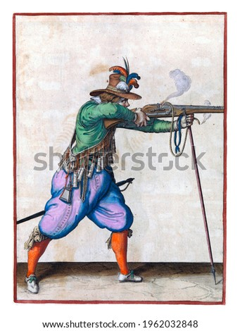 A soldier, full-length, to the right, aiming a musket (a particular type of firearm) at a target with both hands, leaning the barrel on a furket (musket fork), and firing it Royalty-Free Stock Photo #1962032848
