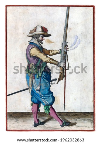 A soldier, full-length, to the right, holding a musket (a certain type of firearm) in front of him with both hands, pointing the barrel upwards, to bring it to his left Royalty-Free Stock Photo #1962032863