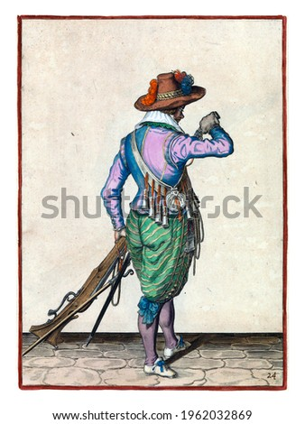 A soldier, full-length, to the right, seen from the back, holding a musket (a type of firearm) with his left hand by his left thigh. In his left hand, besides the musket, also a fuse Royalty-Free Stock Photo #1962032869