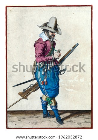 A soldier, full-length, to the right, holding a musket (a certain type of firearm) with his left hand by his left thigh, the barrel pointing diagonally upwards Royalty-Free Stock Photo #1962032872