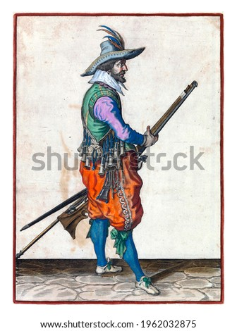 A soldier, full-length, to the right, holding a musket (a certain type of firearm) with both hands by his left thigh. In his left hand, besides the musket, also a furket (musket fork) Royalty-Free Stock Photo #1962032875