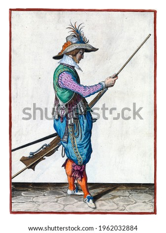 A soldier, full-length, to the right, holding a musket (a certain type of firearm) with his left hand by his left thigh and with his right hand propelling his ramrod to push powder and bullet Royalty-Free Stock Photo #1962032884